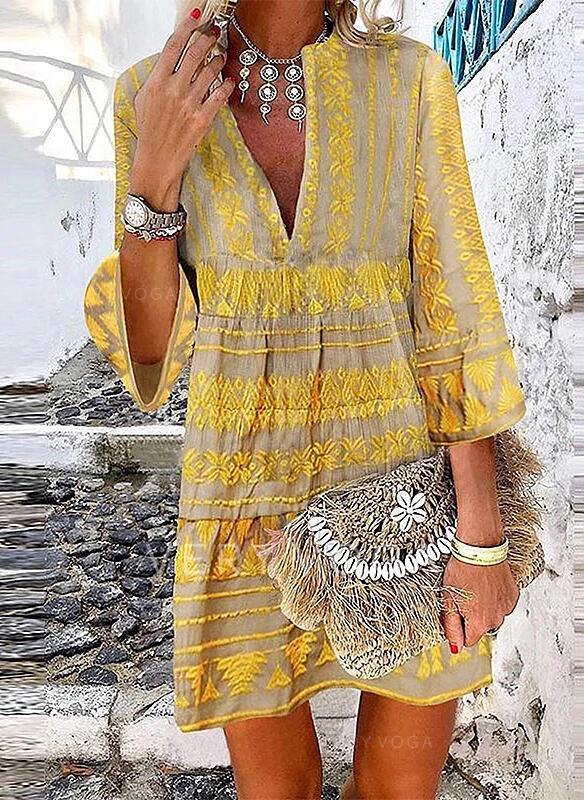 Print 3/4 Sleeves/Flare Sleeves Shift Above Knee Casual/Vacation Dresses
