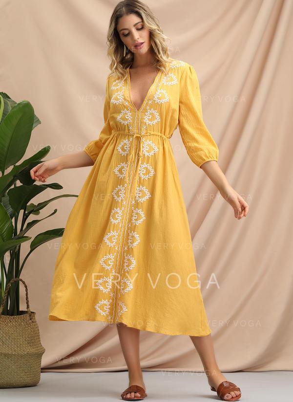 Embroidery 3/4 Sleeves A-line Midi Casual/Boho/Vacation Dresses