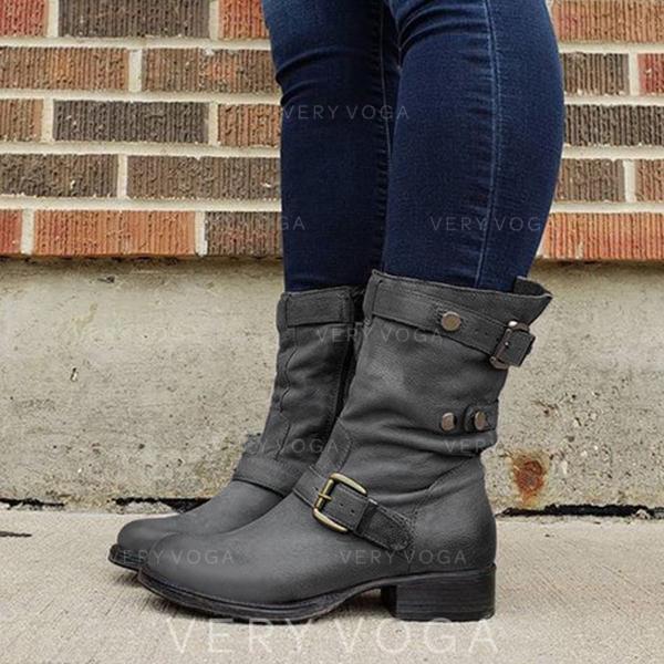 Kvinner Lær Stor Hæl Mid Leggen Støvler med Spenne sko