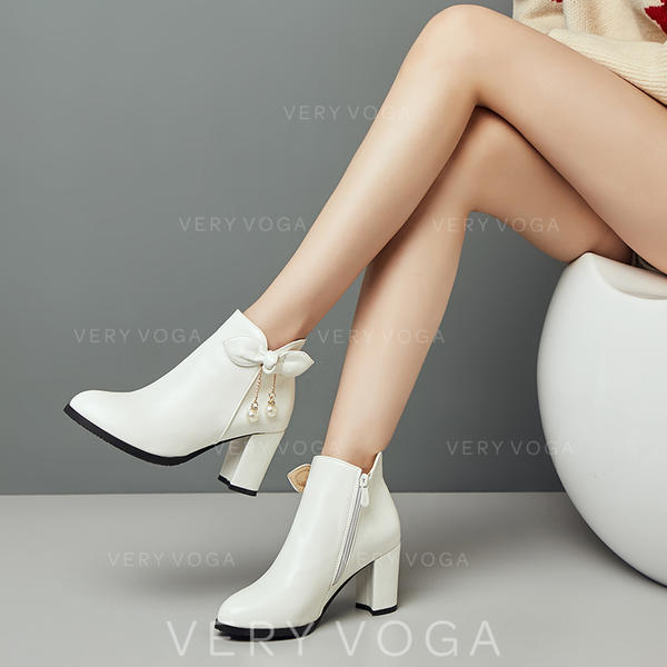 Women's Suede Leatherette Chunky Heel Pumps Boots shoes