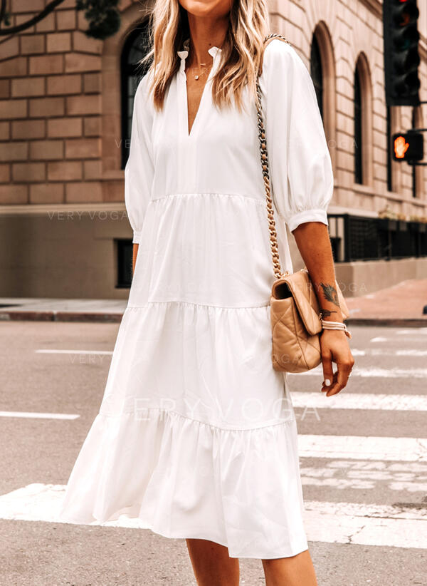 Solid 3/4 Sleeves Shift Tunic Casual Midi Dresses