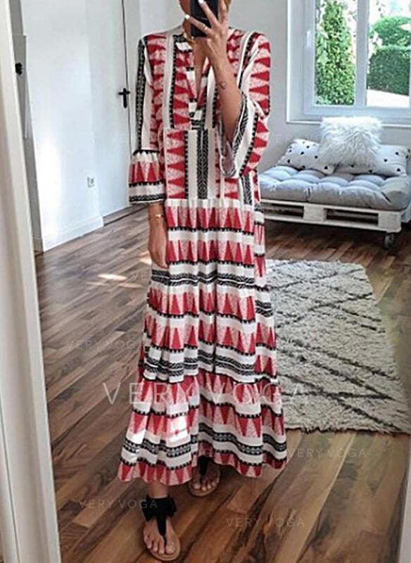 Print 3/4 Sleeves/Flare Sleeves Shift Casual/Vacation Maxi Dresses