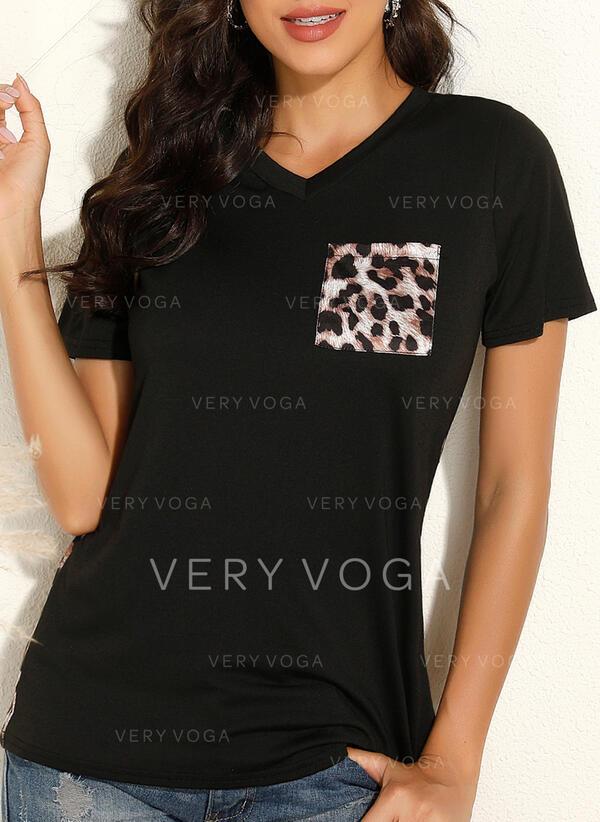 leopardi V-kaula Lyhyet hihat T-paidat