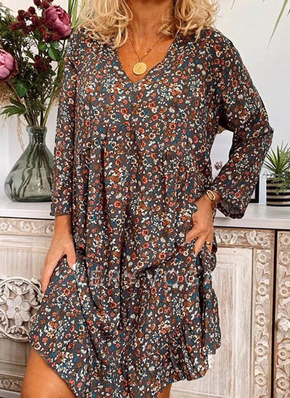 Print/Floral Long Sleeves Shift Above Knee Casual/Boho/Vacation Dresses