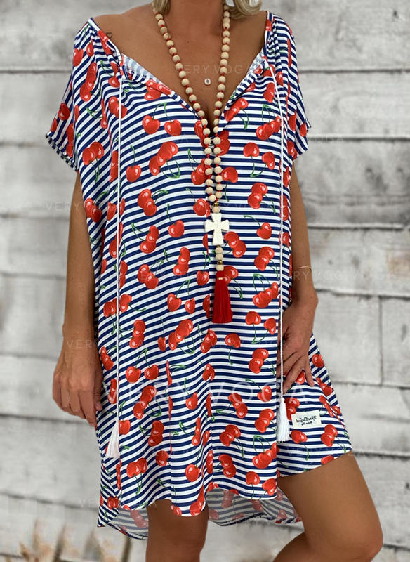 Print/Striped Short Sleeves Shift Knee Length Casual/Vacation Tunic Dresses