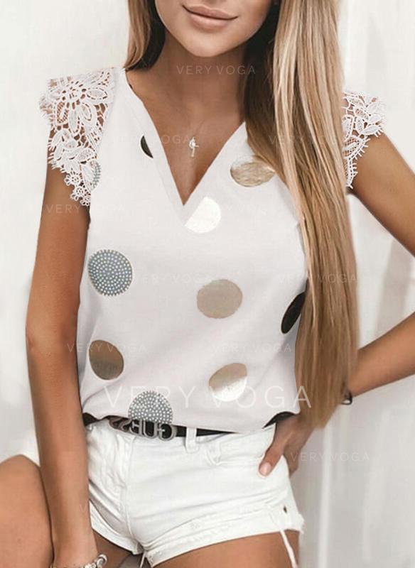 Lace PolkaDot V-Neck Cap Sleeve Casual Blouses