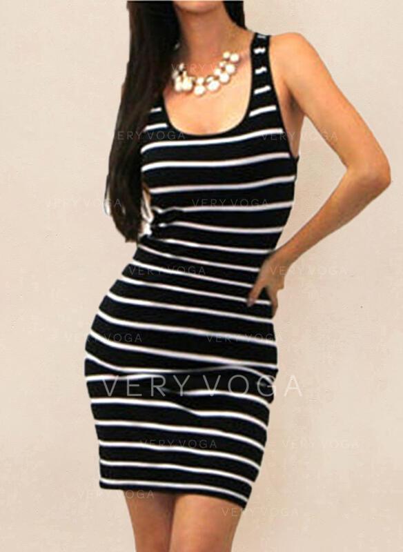 Print/Striped Sleeveless Bodycon Above Knee Casual Tank Dresses