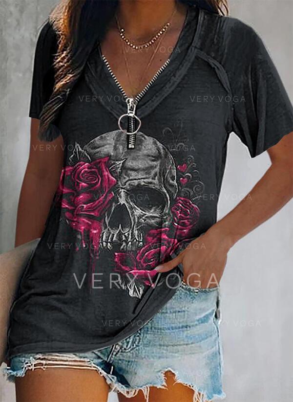 Nadruk Kwiatowy Serce Dekolt w kształcie litery V Krótkie rękawy Casual Bluzki