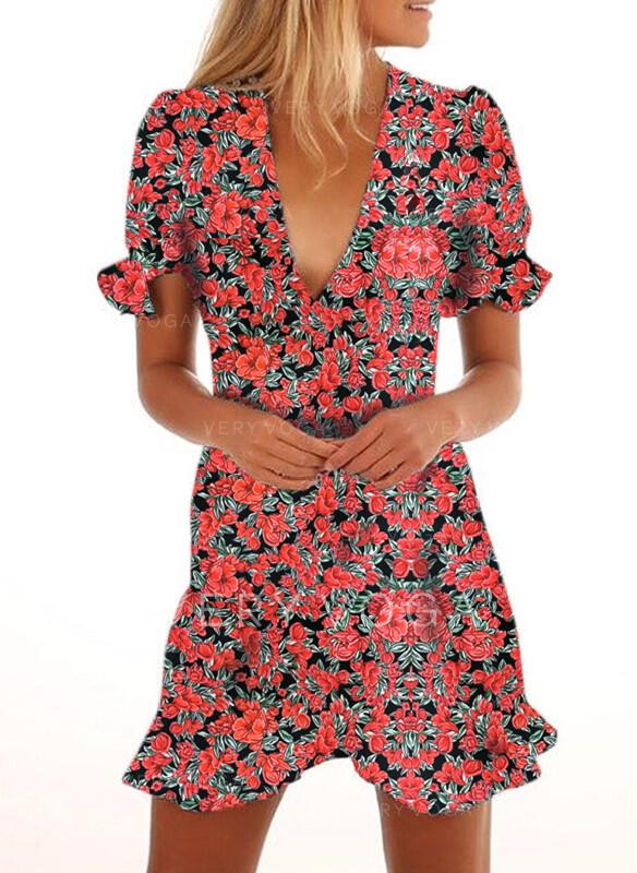 Nadrukowana/Kwiatowy Krótkie rękawy Pokrowiec Nad kolana Casual/Wakacyjna Sukienki