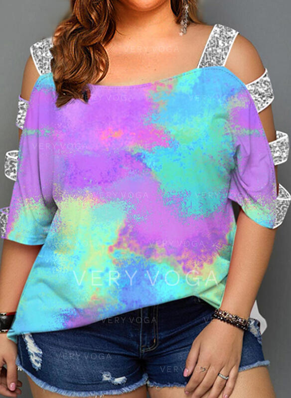 Sequins Tie Dye Cold Shoulder 3/4 Sleeves Plus Size Blouses
