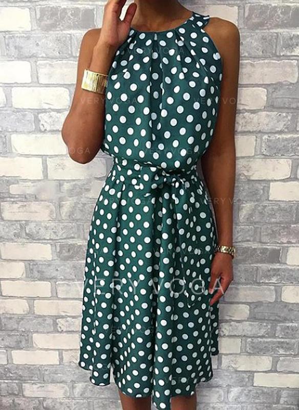 PolkaDot Sleeveless A-line Knee Length Casual Dresses