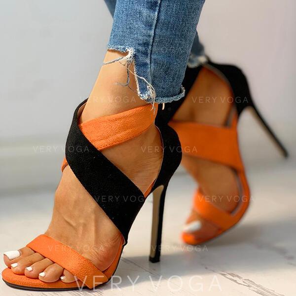 Donna Camoscio Tacco a spillo Sandalo Punta aperta scarpe