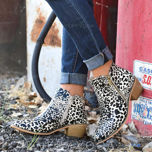 Women's PU Chunky Heel Ankle Boots With Animal Print Zipper shoes
