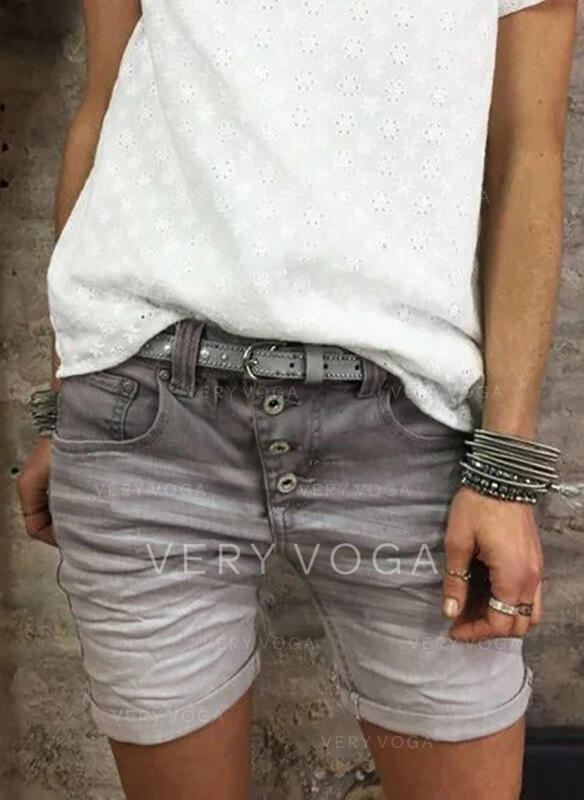 Büyük beden Diz üstü gündelik Jacard kot Şort Kot pantolon
