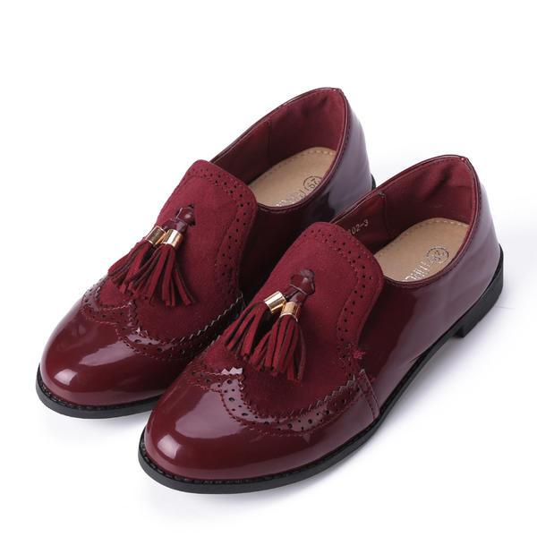 Fille de similicuir talon plat Bout fermé Mocassins et Slip-Ons Chaussures plates Chaussures de fille de fleur avec Tassel