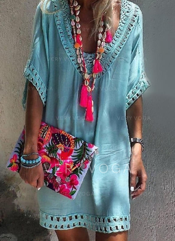 Solid Short Sleeves Shift Above Knee Casual/Boho/Vacation Dresses