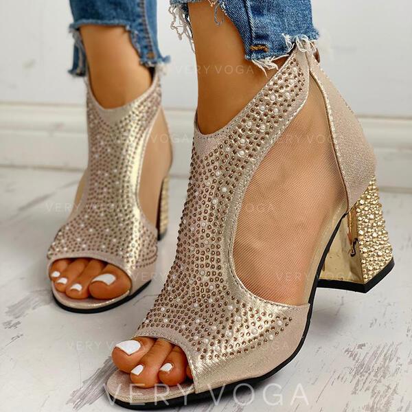 Women's PU Chunky Heel Sandals Peep Toe With Rhinestone Zipper shoes