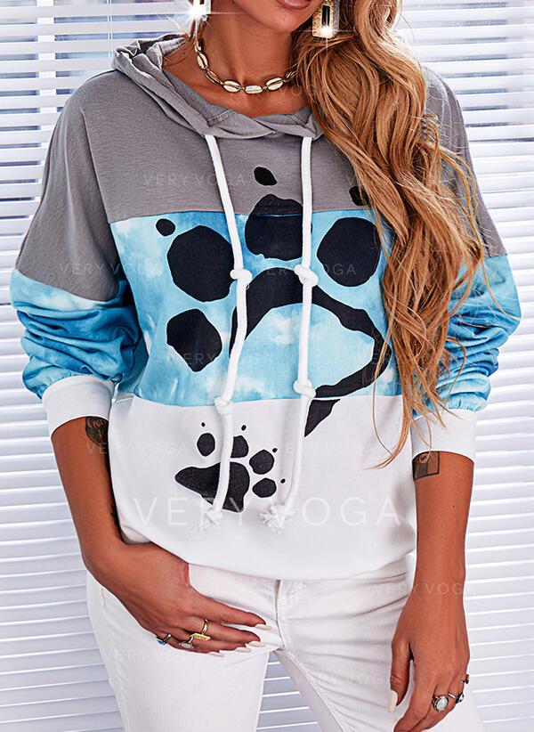 Print Color Block Animal Long Sleeves Hoodie