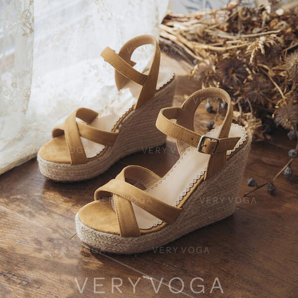 Women's Suede Wedge Heel Sandals Wedges With Buckle shoes