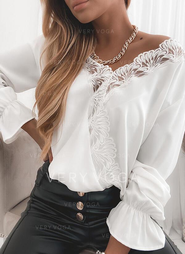 твердый кружевной V шеи Длинные рукова Повседневная Блузы