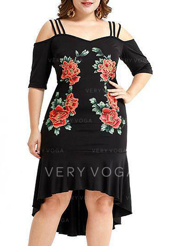 Print/Floral 1/2 Sleeves/Cold Shoulder Sleeve Sheath Asymmetrical Casual/Elegant/Plus Size Dresses