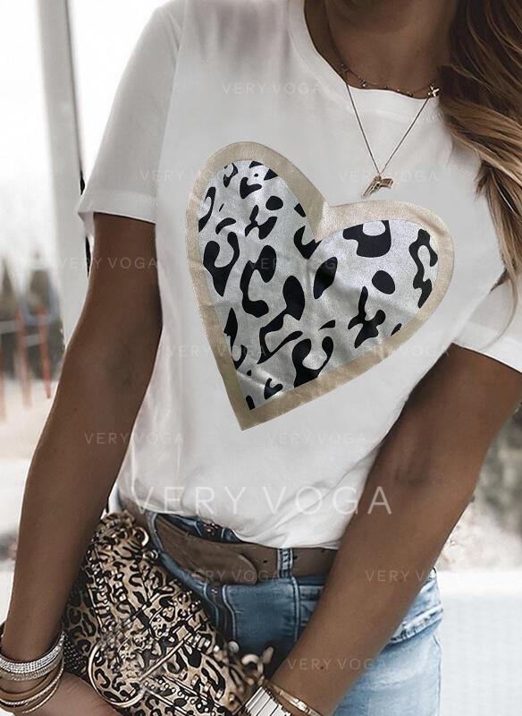 Leopard Hjerte Trykk Rund hals Kortermer T-skjorter