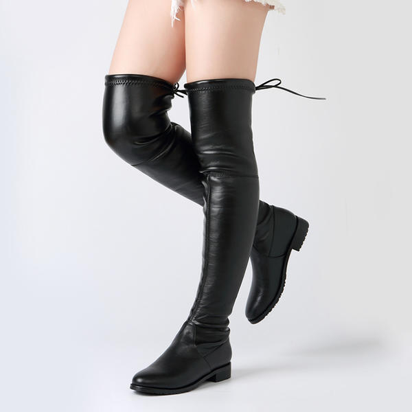 fast delivery the best attitude detailed images Women's PVC Flat Heel Flats Boots Over The Knee Boots With Lace-up ...