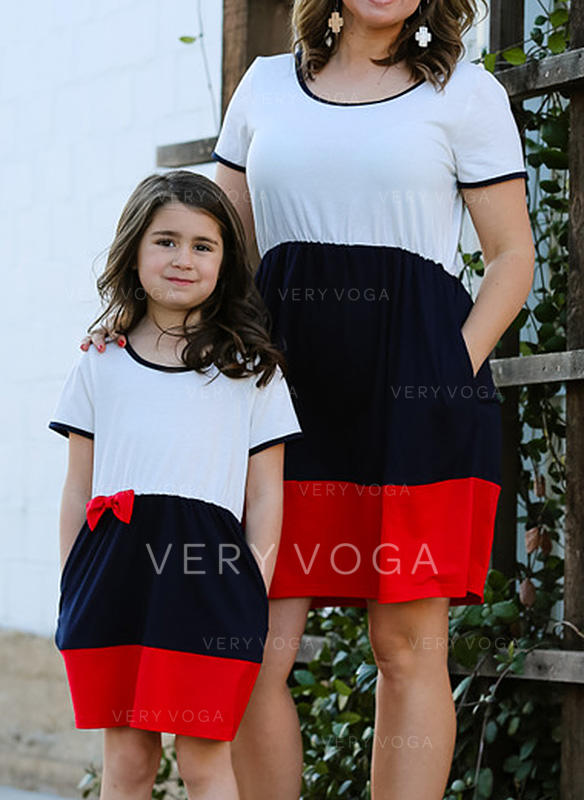 Mommy and Me Color-block Matching Dresses