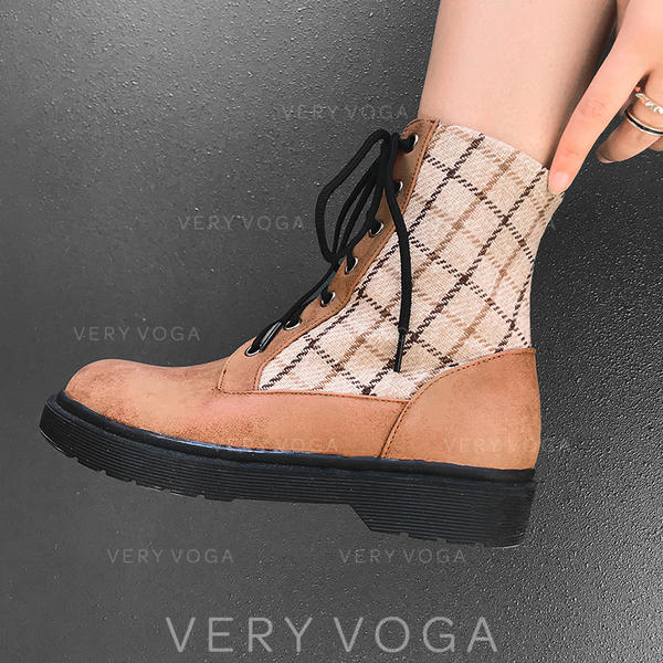 Mulheres Couro Sem salto Bombas Botas Bota no tornozelo Martin botas com Aplicação de renda sapatos