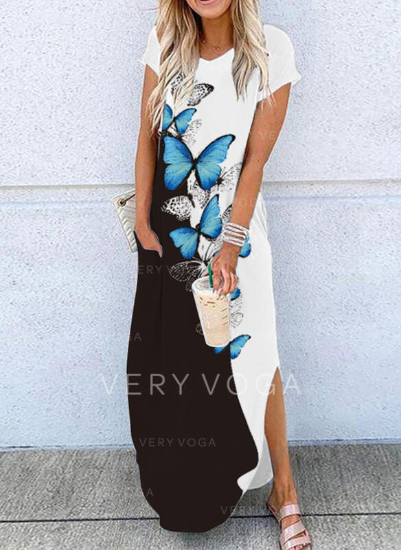 Print/Color Block/Animal Short Sleeves Shift T-shirt Casual Maxi Dresses