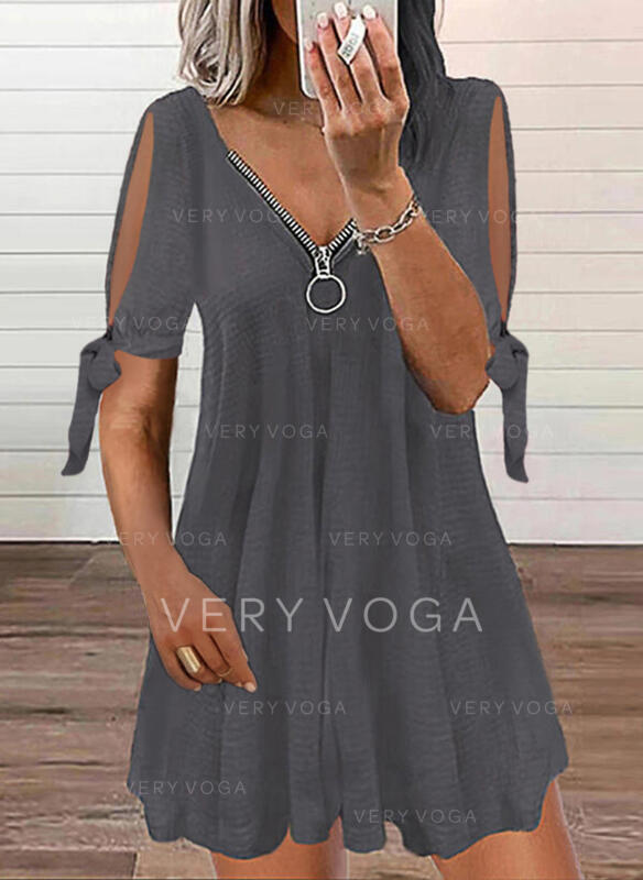 Jednolita Krótkie rękawy/Rozcięte rękawy Koktajlowa Nad kolana Casual Tunika Sukienki