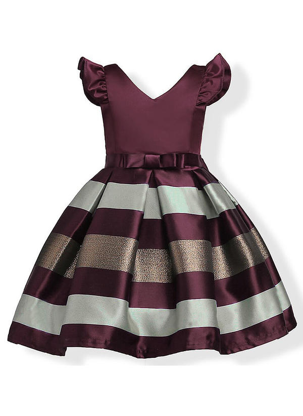 Girls V Neck Bow Casual Cute Dress