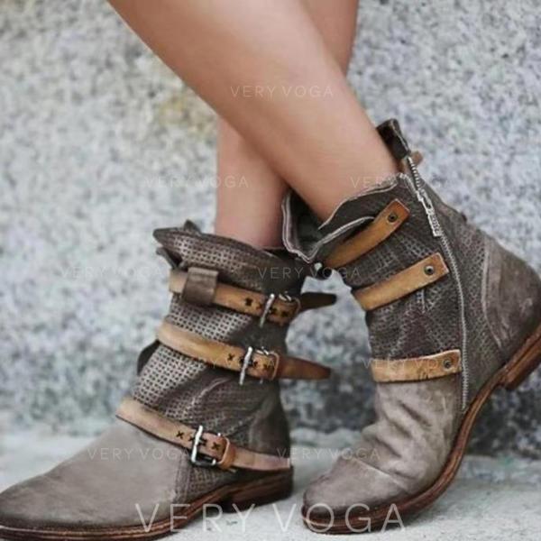 Vrouwen PU Flat Heel Flats Closed Toe Laarzen Half-Kuit Laarzen met Gesp schoenen