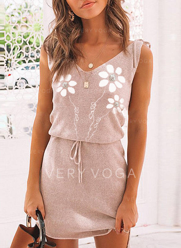 Print/Floral Sleeveless Sheath Above Knee Casual Dresses