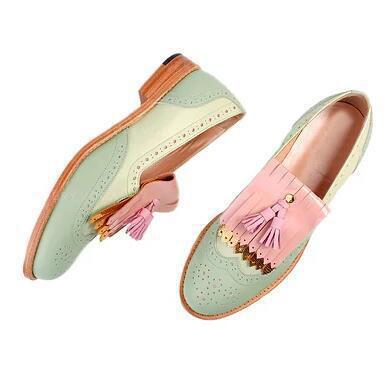 Donna PU Senza tacco Ballerine con Nappa Colore giuntura scarpe