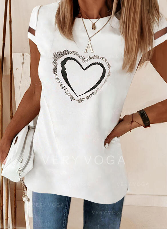 Print Sequins Heart Round Neck Short Sleeves Casual Blouses