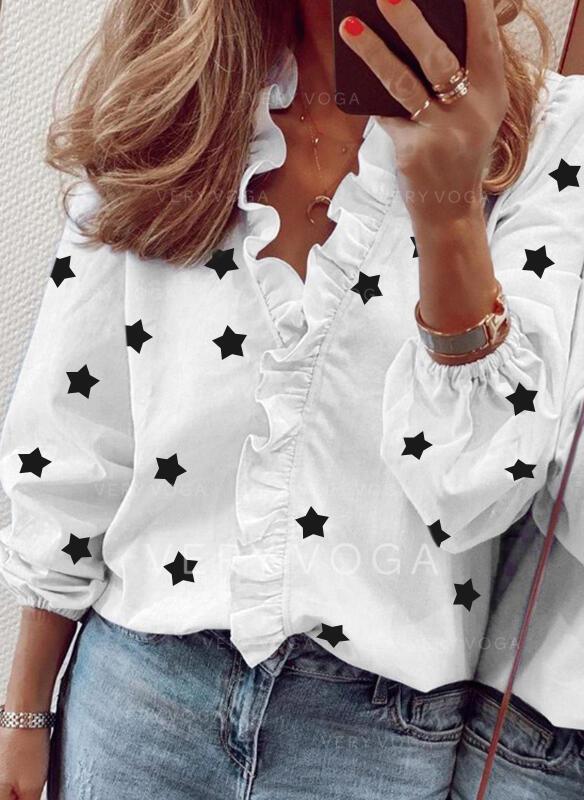 Nadruk Dekolt w kształcie litery V Długie rękawy Casual Elegancki Bluzki