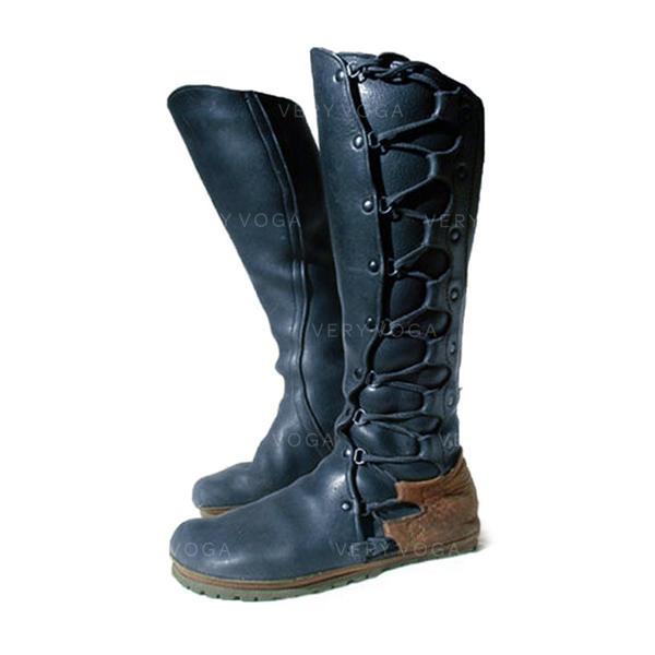 Kvinner PU Flat Hæl Knehøye Støvler med Blondér sko