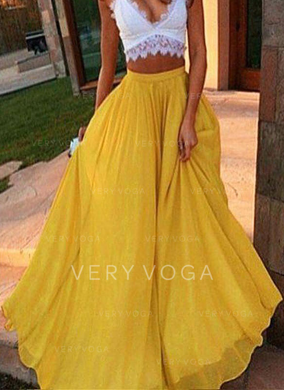 Polyester Plain Maxi Flared Skirts A-Line Skirts