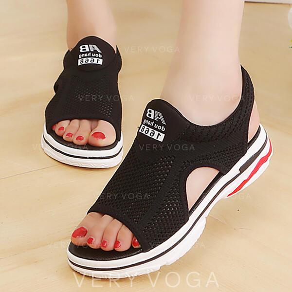 Mulheres Pano Malha Sem salto Sandálias Peep toe com Oca-out sapatos