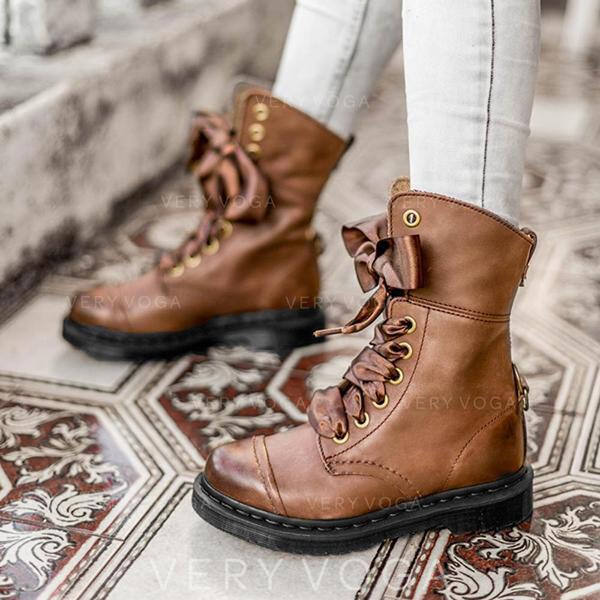 Mulheres PU Salto robusto Martin botas Toe rodada com Bowknot Aplicação de renda Cor sólida sapatos