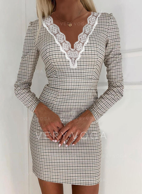 Lace/Plaid Long Sleeves Bodycon Above Knee Elegant Dresses