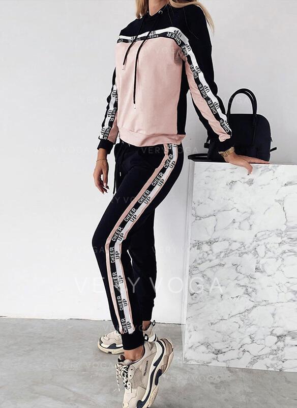 Bluza z kapturem Długie rękawy Jednolity kolor Nieformalny Prosty Zestawy Top i Spodnie