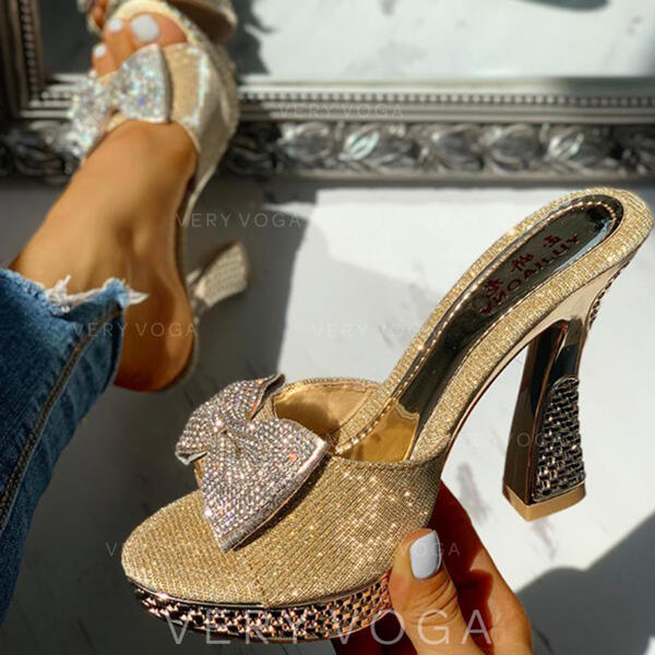 Women's PU Chunky Heel Sandals Peep Toe Slippers With Rhinestone Bowknot shoes