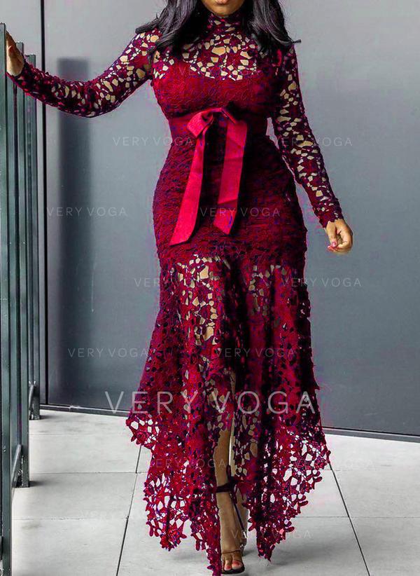Lace Long Sleeves Sheath Maxi Casual Dresses