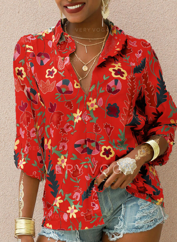 Print V-Neck 3/4 Sleeves Button Up Casual Knit Shirt Blouses