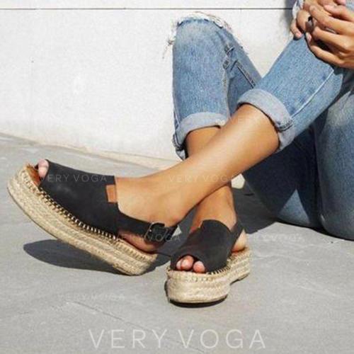 Жіночі Замша Низька підошва Сандалі взуття на короткій шпильці з Пряжка взуття