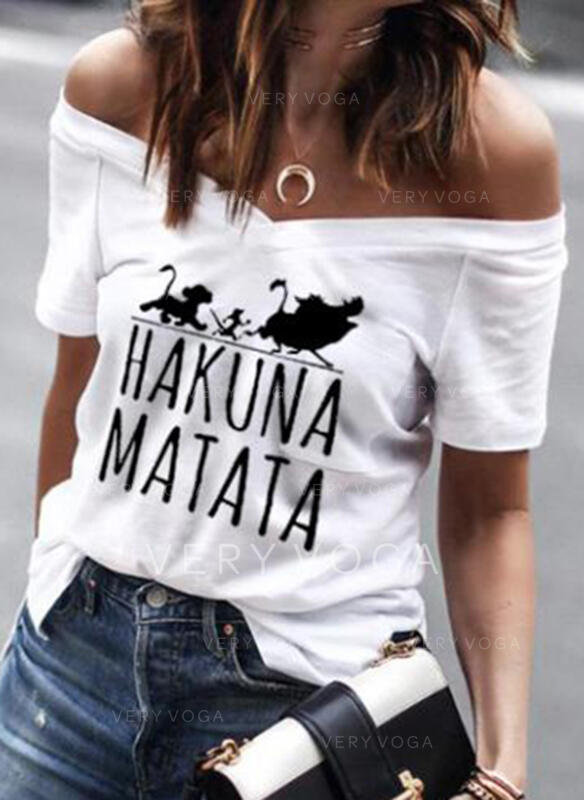 Animal Print Off the Shoulder Short Sleeves Casual T-shirts