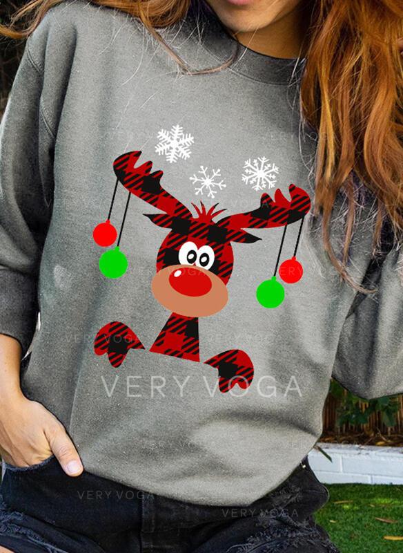 Print rooster Ronde nek Lange Mouwen Kerst Sweatshirt