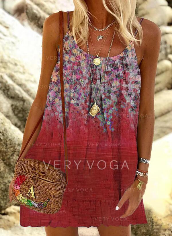Print/Floral Sleeveless Shift Above Knee Vacation Slip Dresses